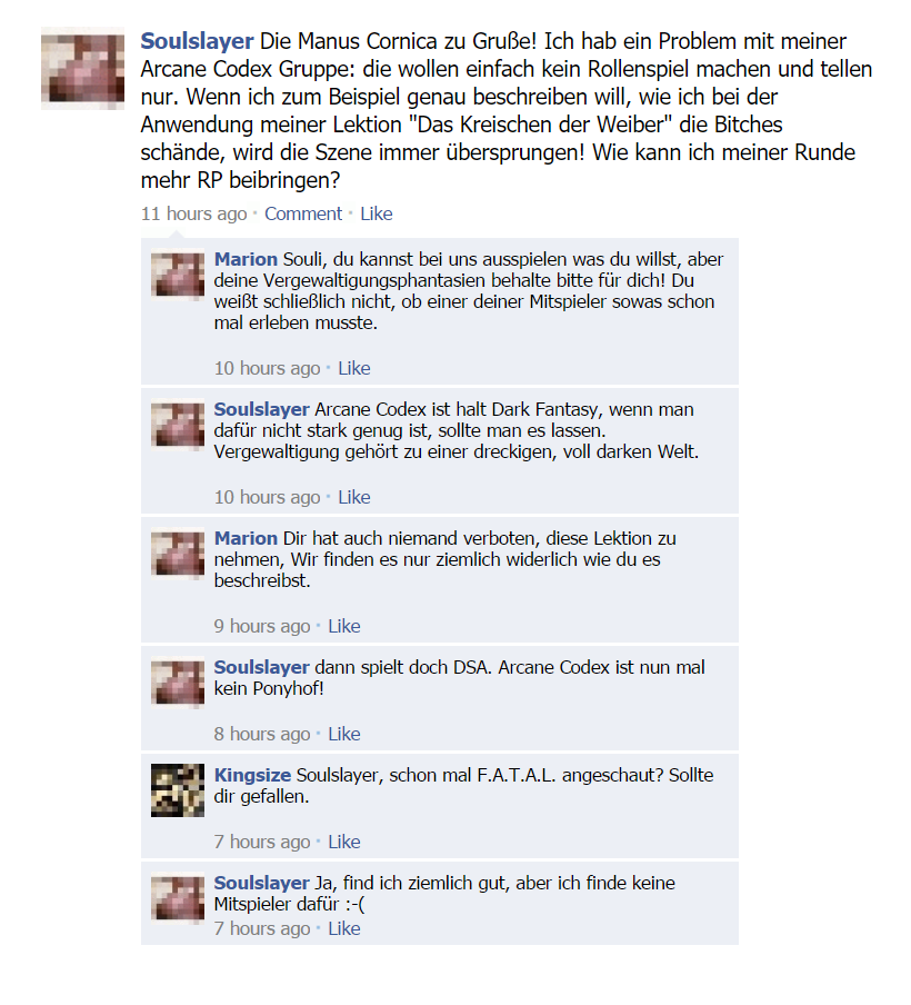 Fake Facebook Thread: Arcane Codex ist ja sooo Dark!